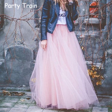 2017 Spring Fashion Womens Lace Princess Fairy Style 4 layers Voile Tulle Skirt Bouffant Puffy Fashion Skirt Long Tutu Skirts(China)