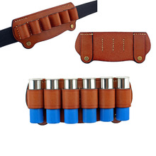 Tactical Hunting 6 Cartridge Leather 12G Shotgun Shell Holder High Quality Tactical Pouch Airsoft Pistol For Belt Use