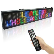 Leadleds 39 X 6 inches IR Remote Led Sign Vivid RGB 7 Color Programmable Message Scrolling  Display Sign Board