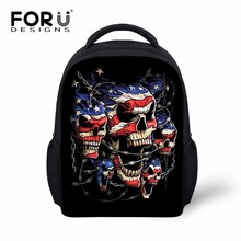 FORUDESIGNS Black Small Boys Skull Backpack Classic Retro Kids Back Bag for School Trend Cool Toddler Baby Bagpack with Flag(China)