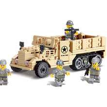 82003 world war 2 Us M2 Halftrack Track Truck Military Building Block set Solider Toy Compatible  for Boys