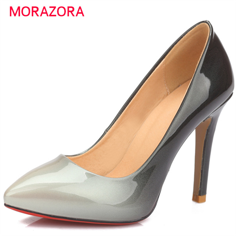 MORAZORA Big size 34-40 thin high heels shoes shallow pointed toe women shoes soft leather pumps party work shoes fashion<br>