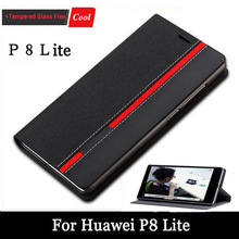 "New Luxury PU Leather Flip Case Cover For Huawei P8 Lite 5"" Case Cell Phone Shell Back Cover With Card Holder+Screen Gift Free(China)"