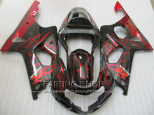 Fit for suzuki fairings gsxr1000 00 01 02 red flames black motorcycle fairing kit GSXR 1000 2000 2001 2002 IV03