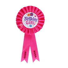 1 PCS Birthday Girl Boy Award Ribbon Rosette Badge Pin Children's Party Decor Supply Favors 2 Colors