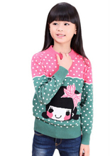 2016 New Brand Autumn and Winter 3~17Y  Kitty Girls Sweater Cotton & Wool Sweaters Children Cartoon Clothing Baby Girl Sweater