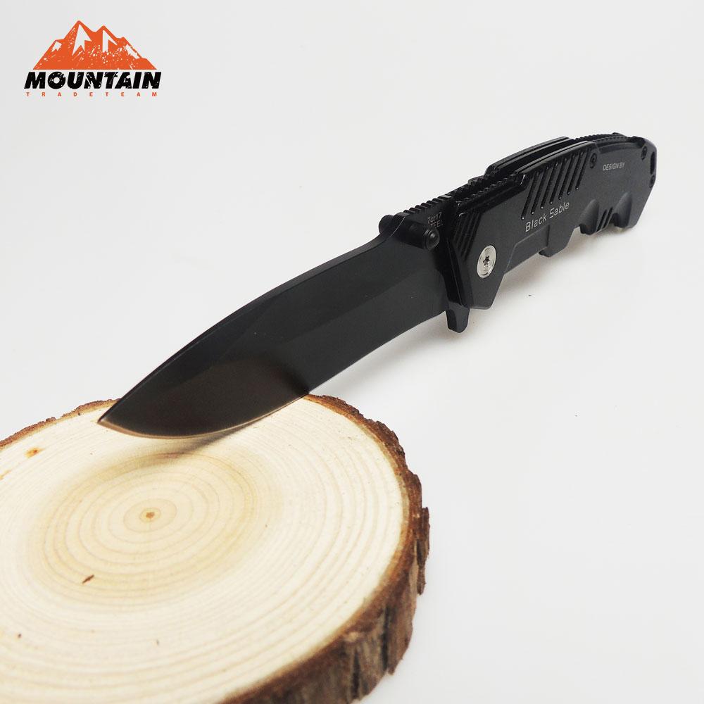 BMT 217 Folding 7Cr17 Black Steel Combat Knife Camping Hunting Tactical Survival Knives Aluminum Handle Outdoor Pocket EDC Tools