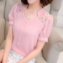 Women Lace Chffion Shirt 2017 Summer Ladies Elegant Office Wear Clothes Short Sleeve V Ncek Sexy Blouse 3XL Cheap Clothes China