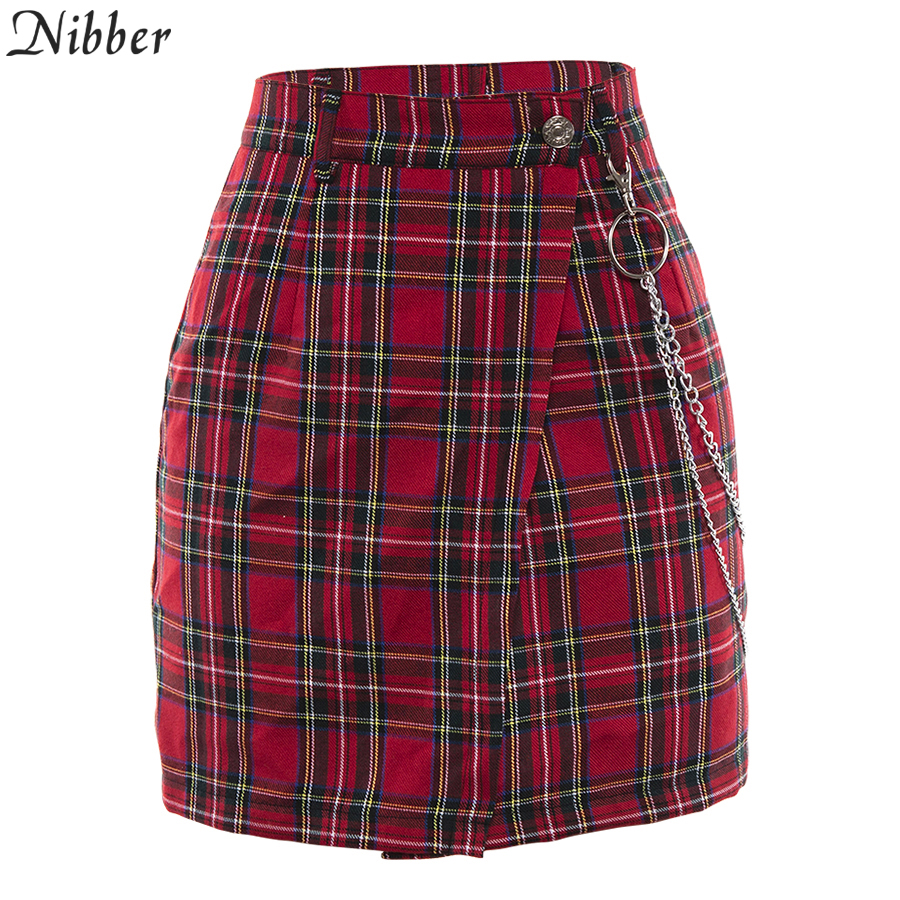 Nibber spring Vintage red Plaid mini skirts Women 19 summer fashion office lady club party casual short pleated skirts mujer 23