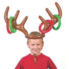 1 PCs Elk Horn Inflatable Toys Kids Moose Antlers Toys Cute Deer Head Shape Ferrule Game For Outdoor Games Christmas Decoration(China)