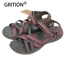 GRITION Women Flat Sandals Girls Summer Outdoor Shoes Sport Open Toe Adjustable Sandals Black Gray Pink Sand Zapatos Mujer(China)