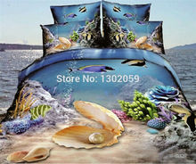 High Quality Factory Shop 3D Sea World Total 4 Pcs Quilt Cover Bed sheet Pillowcase King Queen Bedding Set Available(China)