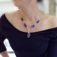 Valentine Special Gift R.A Classic Love Forever Blue Austria Crystal Pendant Necklace Fashion Women Party Necklace(China)