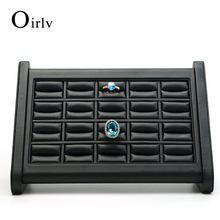 Oirlv High Capacity Custom Logo Jewelry Display Exhibitor For Counter Showcase Rings Earrings Holder Leather Ring Display Stand