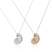 2016 New Gold Ariel Voice Shell Necklace Spiral Swirl Sea Snail Necklace Ocean Beach Conch Necklaces For Women Party Gift XL036