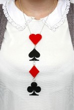 Acrylic Personality Playing Card Big Pendant Punk Necklace For Women Hip Hop Night Club DJ Jewelry Accessories