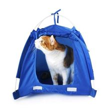 JHO-Pet Kitten Cat Puppy Dog Mini Nylon Camp Tent Bed Play House Blue-L