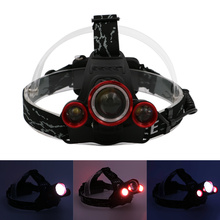 1*T6+2*R2 LED Headlight 5000 Lumens XM-L T6 Head Lamp High Power LED Headlamp for Camping+Charger+Car Charger(China)