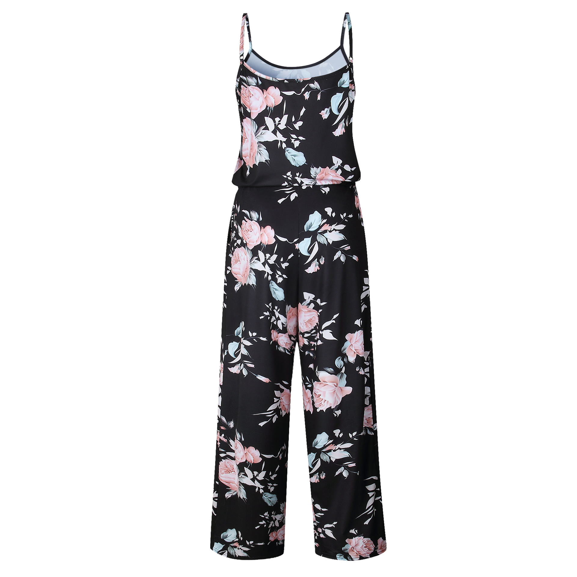 Spaghetti Strap Jumpsuit Women 2018 Summer Long Pants Floral Print Rompers Beach Casual Jumpsuits Sleeveless Sashes Playsuits 28