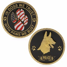 (OOTDTY)In Dogs We Trust With Paws we Bust Police Dogs Commemorative Challenge Coins Art MAY16_35