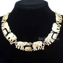 Gold Silver African Elephant & Baby Link Hindu Ganesh Chain Collar Statement Necklace Necklace Jewelry(China)