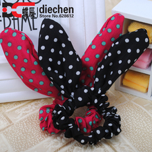 2pc/lot assorted colors adorable polka dot bunny ears scrunchies wires inside bendable into any shape funky hair accessories