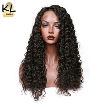 KL Hair Deep Wave Full Lace Human Hair Wigs Natural Color 1B Brazilian Remy Hair Lace Wigs For Black Women With Baby Hair(China)