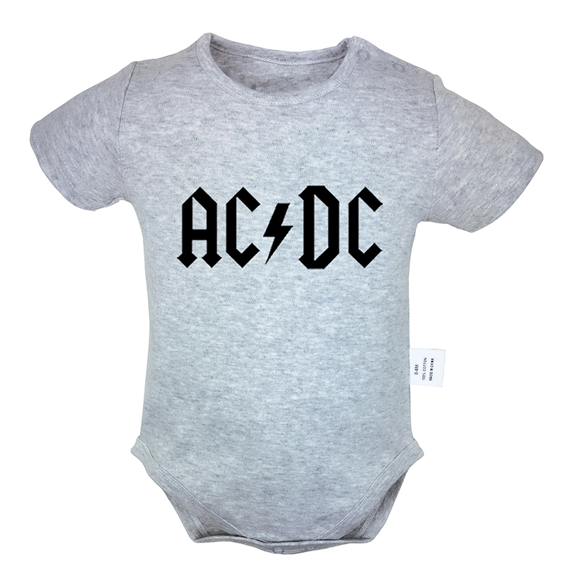 Rock Band ACDC Malcolm Angus Brian Cliff Phil Printed 6-24M Newborn Baby Girl Boys Clothes Short Sleeve Romper Jumpsuit Outfits(China)
