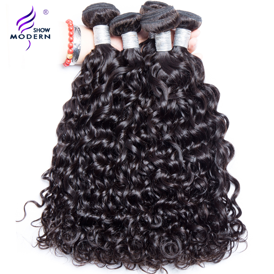 Modern Show Malaysian Water Wave Hair Bundles 1Pcs Human Hair Extensions Remy Hair Weaves Natural Color Can Buy 3 or 4 Bundles(China)