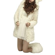 Fashion Winter Women Wool Hoodie Bear Coat Jacket Warm Lambs Wool Cardigan Tops Outwear