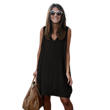 Novelty Fashion Sleeveless Tank Dresses High Low Hem Loose Casual Summer Dress V Neck Asymmetric Shift Loose Women Clothing