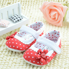 0-18months Newborn Infant Baby Toddler Girl Soft Crochet Shoes Red Dot Flower  Christmas Festival Holiday Gift Warm Cotton Baby