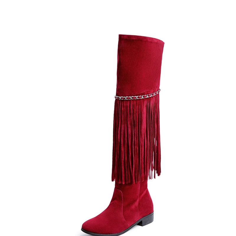 Knee-High boots fashion ankle boots Comfortable Suede Tassel leather woman boots dress shoes ladies women shoes round toe<br>