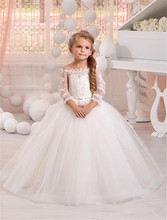 2017 White Long Sleeve Ball Gown Flower Girl Dresses For Wedding Tulle Beads First Communion Dresses Girl Pageant Gown FH49