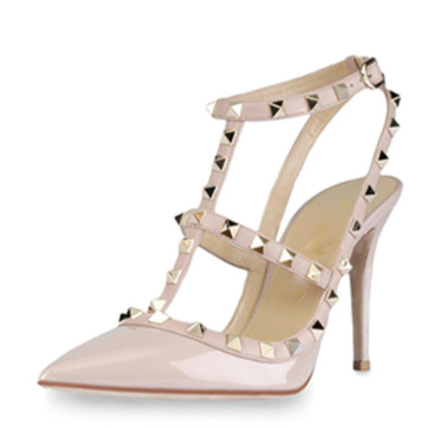 High Quality Plus Size 35-41 Classic Sweet Studded Sandals Women High Heels Pumps Strappy Slingback Ankle Strap Rivets Stilettos<br><br>Aliexpress