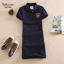 Baharcelin M~3XL Embroidery Polo Casual Dresses De Festa T Shirt Femme Summer Tops Clothing One piece Dress Ete Vestidos