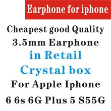 White Earphone with remote mic in crystal retail box for apple Iphone 6 6s plus 5 5s gift good quality box headset cheapest 100