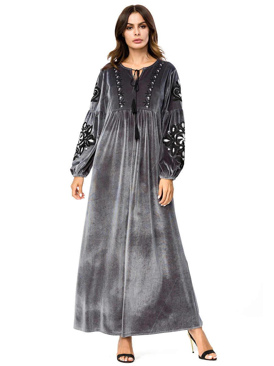 5f6553b8c7 Elegant Embroidery Velvet Abaya Muslim Swing Maxi Dress Long Robe Gowns  Urban A line Kimono Loose
