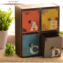 STAYGOLD Wood Decoration America Village Creative Cabinets Four Pumping Storage Box Vintage Home Decor Artesanatos Acessorios