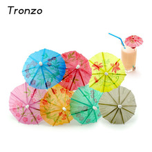 Tronzo 100Pcs Umbrella Drinking Straws Fruit Cocktail Supplies Paper Parasol Hawaiian Christmas Party Favor Wedding Decoration