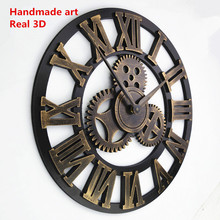 Handmade Oversized 3D retro rustic decorative luxury art big gear wooden vintage large wall clock on the wall for gift(China)