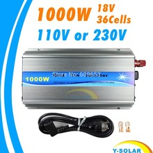 Grid Tie Inverter 1000W MPPT function Pure Sine Wave 110V OR 220V output 18V Input Micro On Grid Tie Inverter 18V 36 Solar Cells