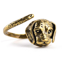 Adjustable dog ring For Men And Women Punk vintage labrador dog head party Jewelry unisex free size animal rings High Quality