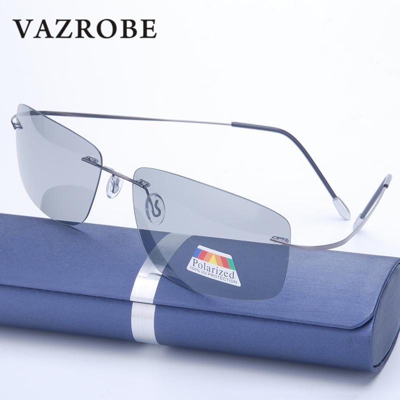 Vazrobe (5s Change Color) Photochromic Sunglasses Men Women Titanium polarized Sun Glasses Chameleon Rimless Anti-glare Driving 5