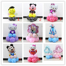 12pcs/lot Mickey Mouse&Hello Kitty&Doctorial hat Mini Upright  Foil Balloons polka dot latex ballons birthday party supplies