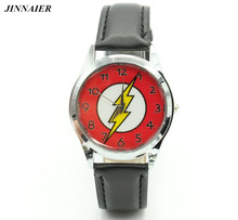 2017 Newest Design Cartoon Very Popular DC Universe The Flash Superhero Leather Band Boys Child Fashion Wrist watch(China)