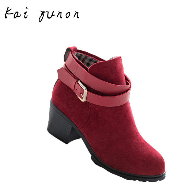 kaiyunon Women Winter Snow Ladies Low Heel Ankle Belt Buckle Martin Boots Shoes Oct 13<br><br>Aliexpress