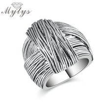 Mytys New Arrival Geometric Hand Made Design Retro Collection Women Antique Ring Fashion Jewelry White Gold Color R1213(China)
