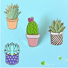 Hot New Oil Drop Cute Cactus Pots Planet Metal Brooch Pins Button Pins Girl Jeans Bag Decoration Gift