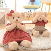 Super Cute Teddy Bear Plush Toys Kawaii Various Actions Bear in Dress with Magnets Stuffed Peluche Dolls 45cm/65cm(China)